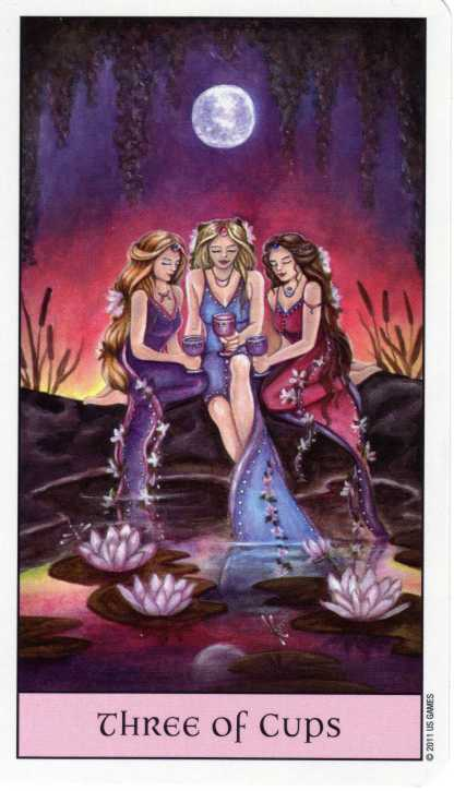 """The Three of Cups represents community and groups of people coming together to focus on a common goal for the greater good of others. You may find that by reaching out to others and banding together, you can achieve a huge amount in terms of sharing your positive energy and passion with others, benefiting the wider community. It is a sign that you should seek out other people to celebrate your successes along with you. "" - from http://www.biddytarot.com"